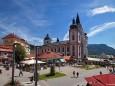 Mariazeller Hauptplatz mit Basilika am 15. August 2012