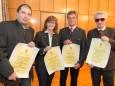 Markus Dallago, Gabriele Fluch, Herbert Fuchs, Siegfried Schneck mit ihrem Ehrendiplom.Mariazell - Gemeinderat Angelobung und Bürgermeister- und Stadtratwahl am 23.4.2015