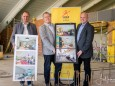 JUFA Hotels Mariazell - Erlaufsee Sport Resort Baustelle vlnr. Johann Kleinhofer (Bürgeralpe GF), KR Gerhard Wendl (JUFA Vorstandsvorsitzender), Michael Wallmann (Bgm.)