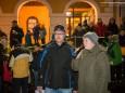 Moderator Roland Widmayer und Bürgermeisterin Petra Zeh - Perchtenlauf der Kogl-Teufeln in Annaberg 2015