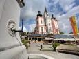 Stadtbrunnen und Basilika in Mariazell