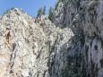 Rechts an der Wand entlang führt der Steig - Brunnsee auf die Riegerin - Bergtour - 3.Juli 2014