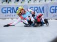 Österreichischer Doppelsitzer, die Silbermedaille Gewinner - Naturbahn Rodel WM 2015 im Mariazellerland - Doppelsitzer Bewerb