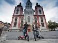 Pressefotos vor der Mariazeller Basilika