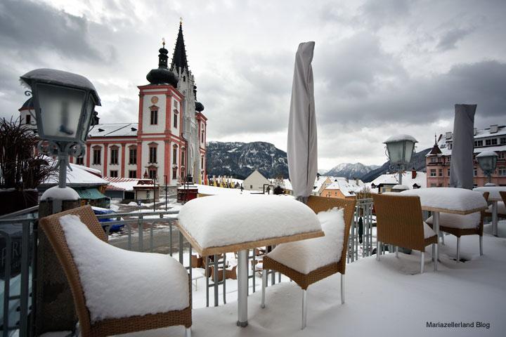 Wintereinbruch in Mariazell mitten im Oktober 2009