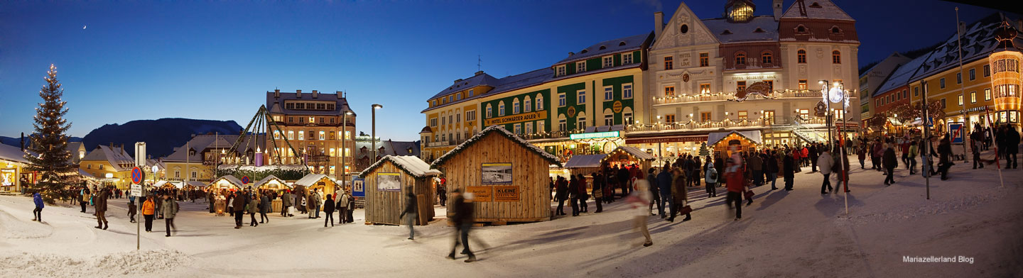 Advent Mariazell 2009 Hauptplatz Panorama