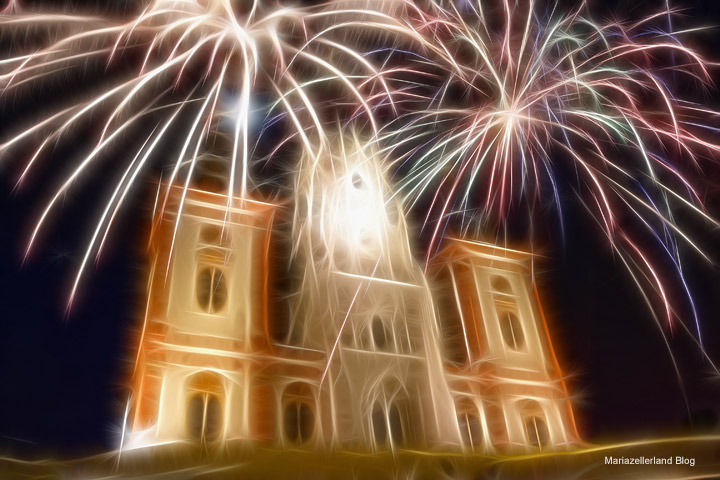 Mariazell-Basilika-Feuerwerk-Silvester