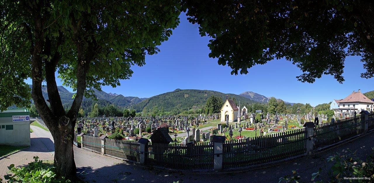 Friedhof Mariazell Panorama mit Blick auf Gemeindealpe