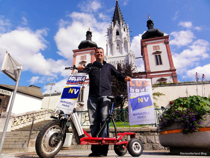 Wolfram Doberer vor seiner Reise mit dem E-Bike von Mariazell nach Paris