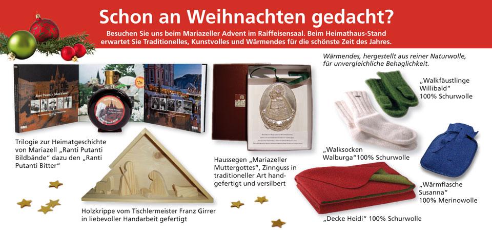 Heimathaus Mariazell - Weihnachtsprodukte als Unterstützung