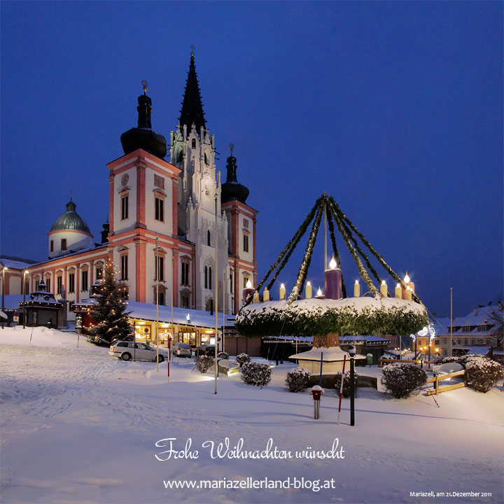 Mariazeller Basilika und Adventkranz am 21. Dezember 2011