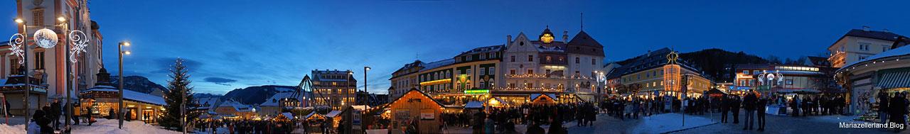 Hauptplatz Mariazell - Blaue Stunde am 4. Adventsonntag in Mariazell