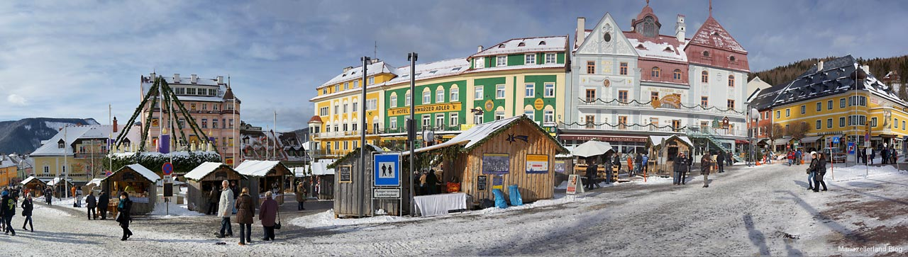Mariazell Hauptplatz Panorama am 4. Adventsonntag 2011