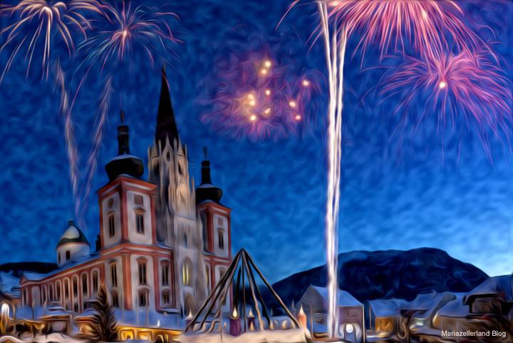 Silvester Mariazell Basilika - Bildmontage: Das Zünden von Feuerwerkskörpern ist innerhalb des Ortsgebiets verboten.
