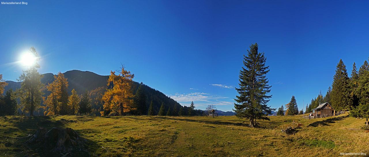 Sohlenalm am Weg zur Hohen Veitsch - 21.10.2012 - Blick Richtung Süden