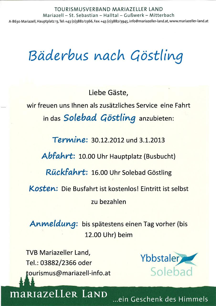 Bäderbus von Mariazell ins Ybbstaler Solebad nach Göstling