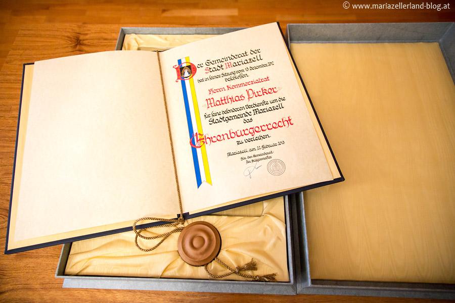 Matthias Pirker - Ehrenbürger von Mariazell