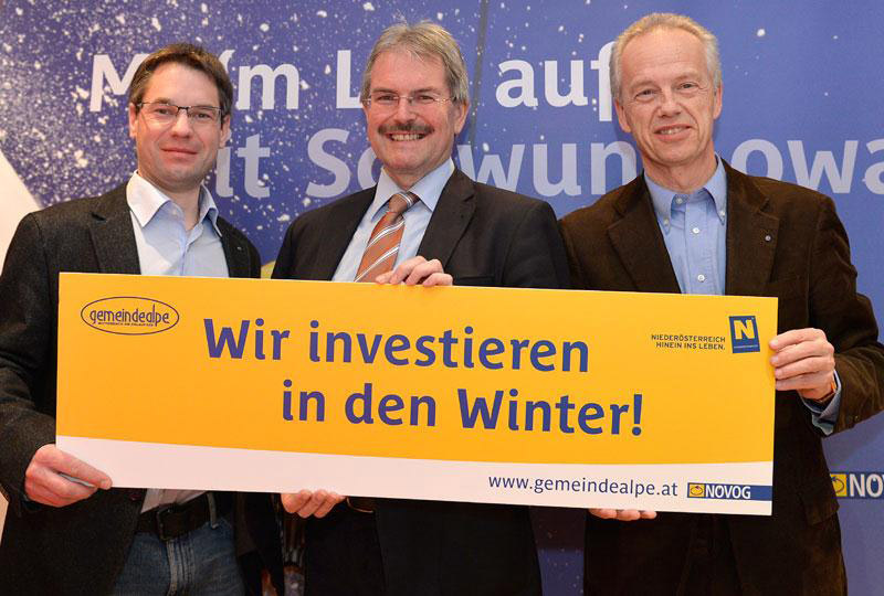 Verkehrslandesrat Karl Wilfing, NÖVOG Geschäftsführer Gerhard Stindl und Dienststellenleiter Andreas Markusich