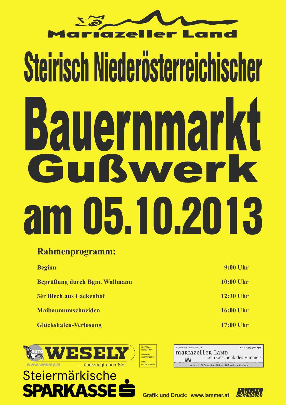Plakat Bauernmarkt 2013, A3
