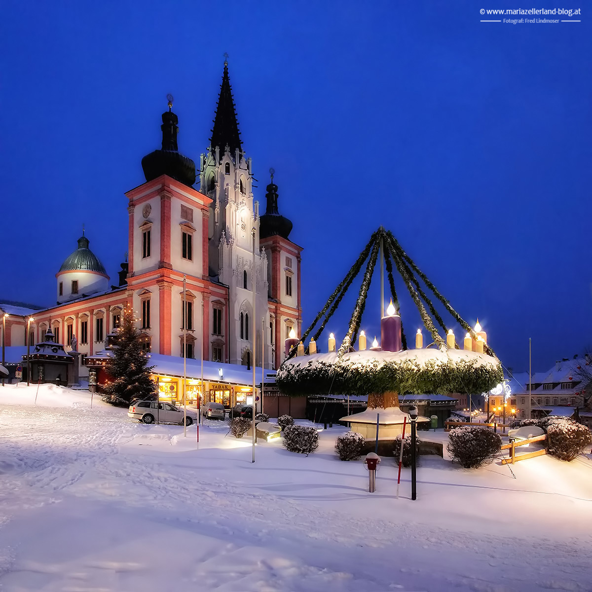 Stille_Basilika-Mariazell-Adventkranz-Winter