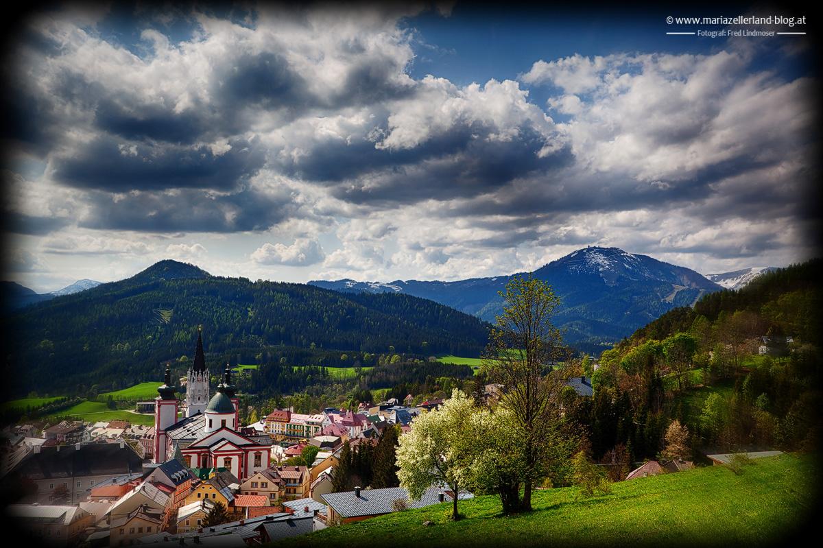 Frühling-Mariazell-Basilika-IMG_0677_Holga