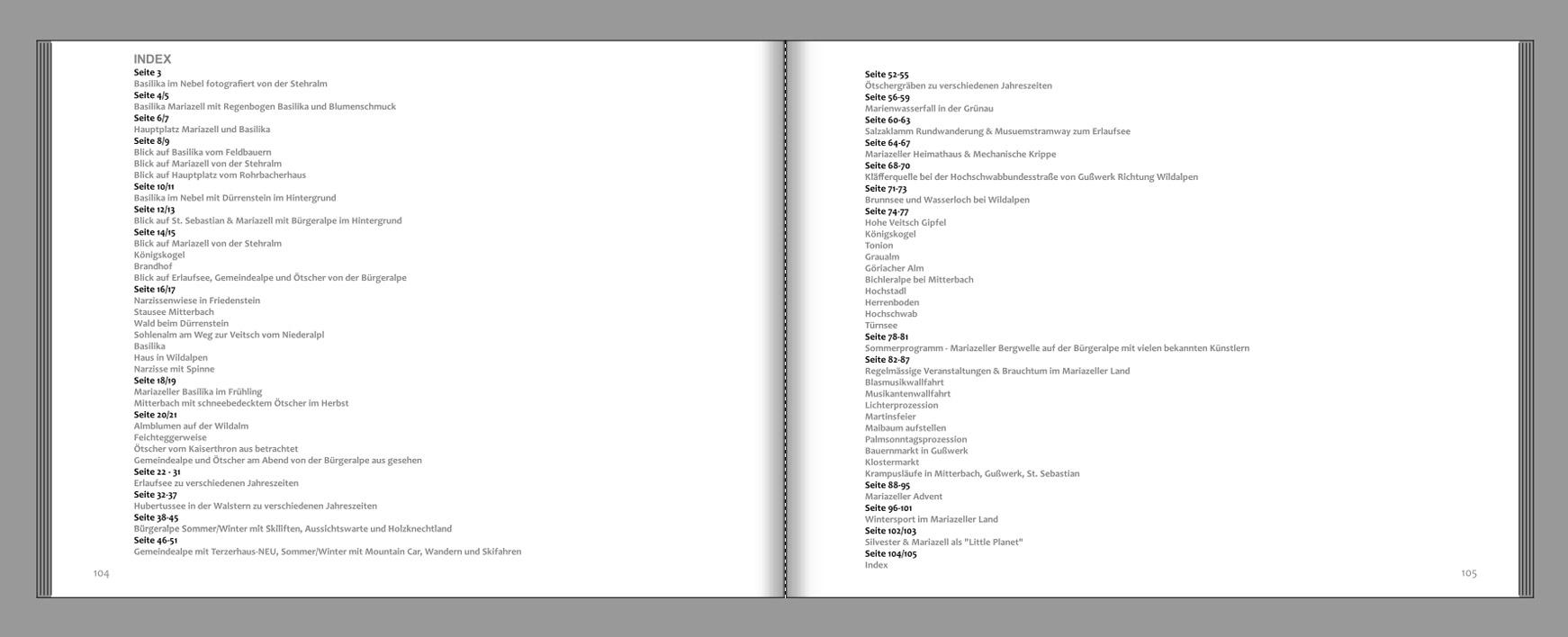 Mariazellerland-Fotobuch-Index