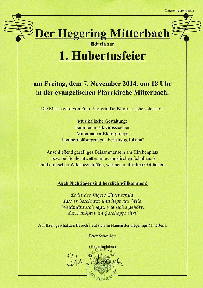 Hubertusfeier-Hegering-Mitterbach