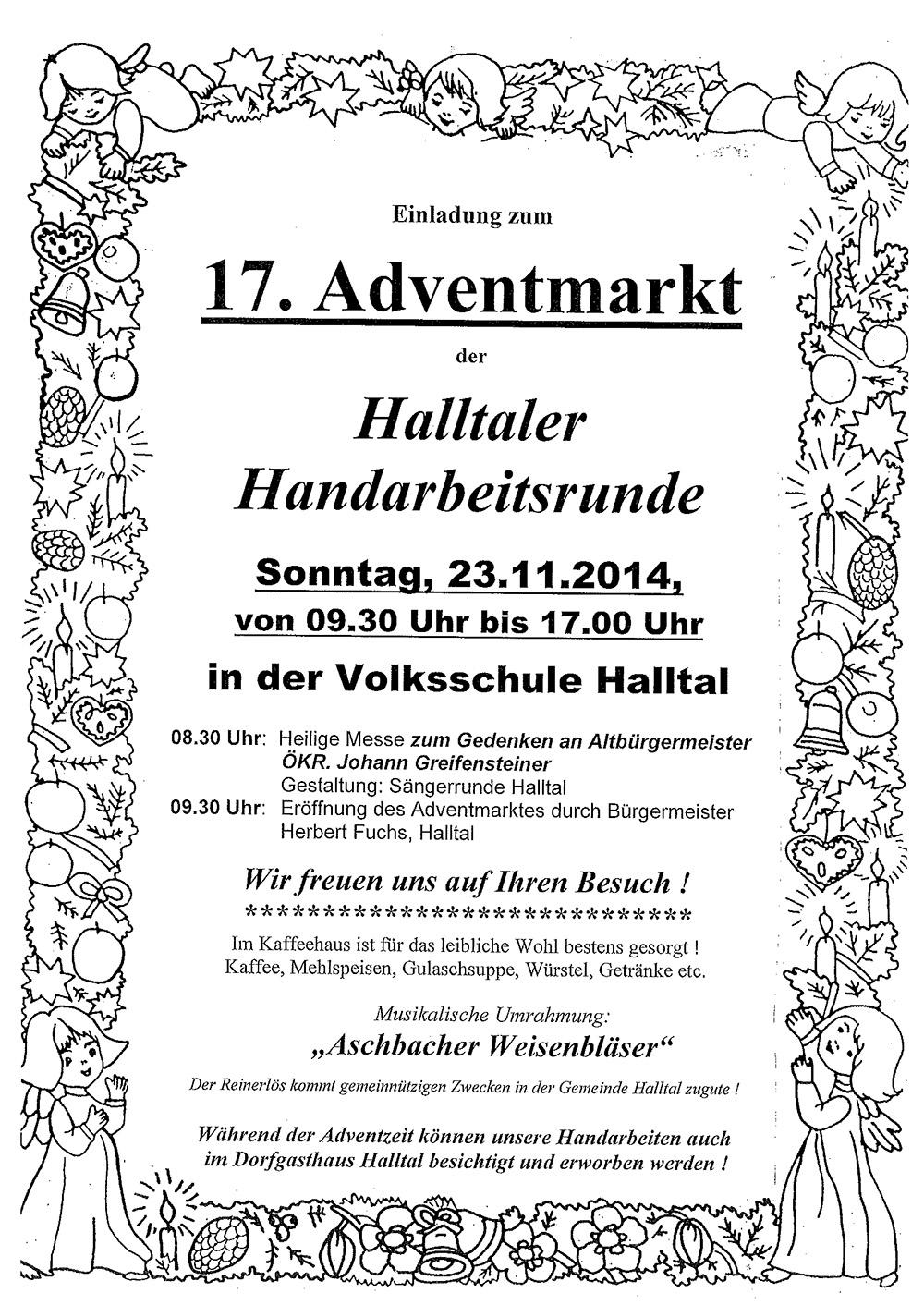 Einladung Adventmarkt 2014