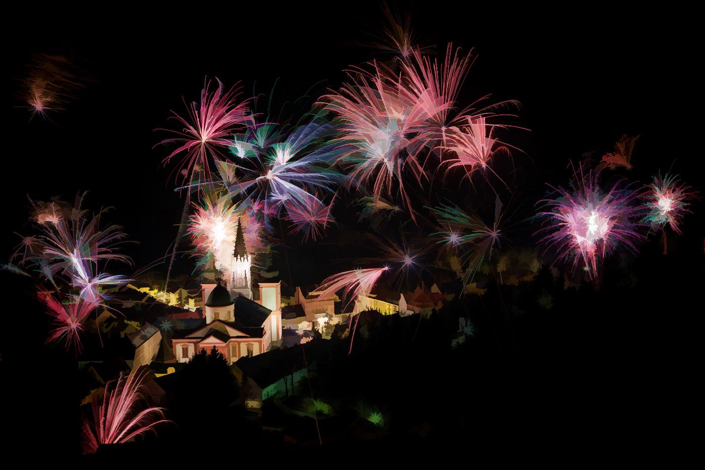 Mariazell-Basilika-Feuerwerk_kontrast