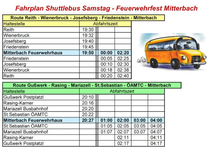 Shuttlebus Feuerwehrfest Mitterbach