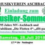 Einladung zum Musiker-Sommerfest in Aschbach