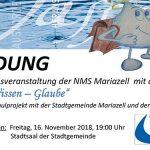 Termintipp: Wasser - Wissen - Glaube - Veranstaltung der NMS Mariazell