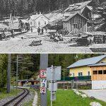 Serie: Einst & Jetzt | Bahnstation Erlaufklause 1908 und 2021