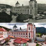 Serie: Einst & Jetzt | Mariazell Hauptplatz Basilika 1936 und 2021